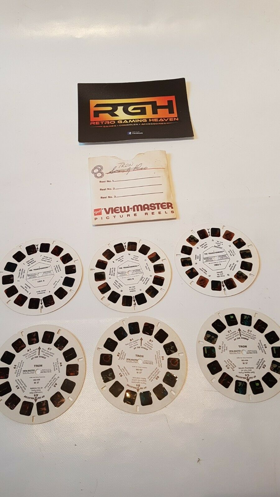3X TRON AND 3X TRANSFORMERS TRANSFORMERS VIEW-MASTER PICTURE REELS IN SLEEVE, RARE