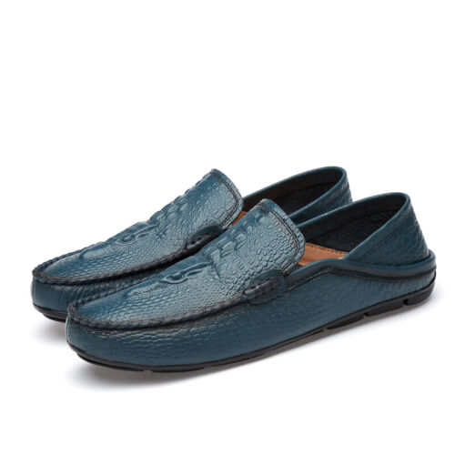 New Mens Alligator Pattern Pumps Moccasins Leather Loafers Slip On Driving Shoes