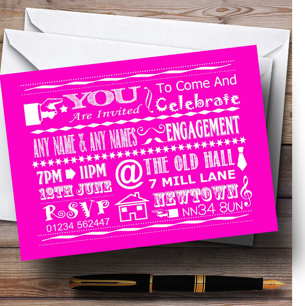 Cool Fun craie typographie hot hot typographie Rose  Personnalisé Fiançailles invitations a8390a