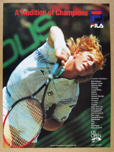 Details about 1989 boris becker photo FILA Tennis Clothing vintage print Ad