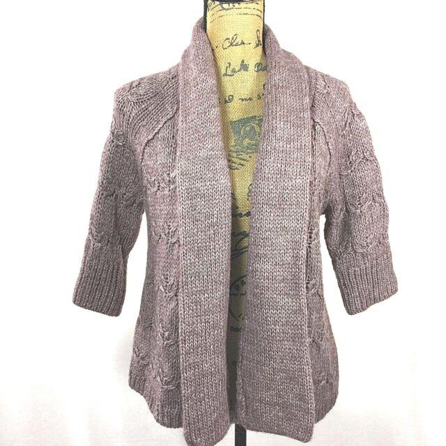 a7ff72c25d NEW Ann Taylor LOFT Chunky Sweater Cardigan Heather Gray Purple Short Sl  Wool Bl