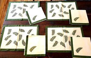 Vintage-Cotton-Dinner-Placemats-amp-Napkins-Set-of-8-Fern-Patterns-Green-amp-Cream