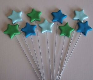 Image Is Loading Edible Stars On Wires CUPCAKE TOPPERS Birthday Cake
