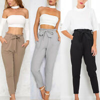 Women Vogue Chffion Harem Long Pants Comfy Elastic High Waist OL Pencil Trousers