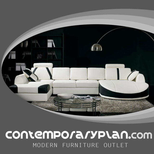 Ultra Contemporary Leather Sectional Sofa with Curved Chaise White Black  Modern