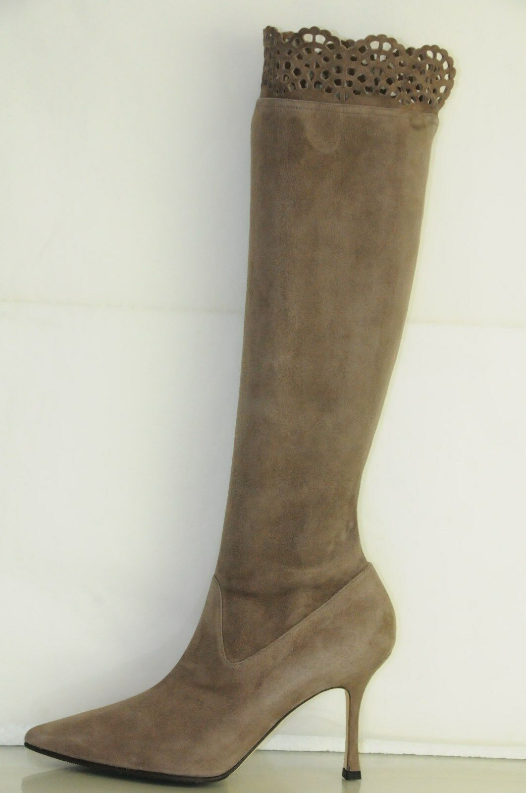New MANOLO BLAHNIK  PAFATOLO TAUPE Beige Suede Stretch Boots SHOES 35 36.5 37