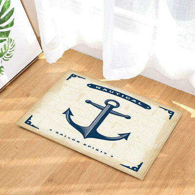 Nautical Anchor Beach Sea Starfish Non Slip Carpet Bath Mat Shower Rug Door Mat