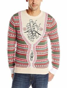 New Mens Medium Ugly Christmas Sweater Hairy Bare Chest Nipples Red