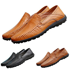 Men-039-s-Flat-Slip-on-Leather-Loafers-Casual-Lazy-Driving-Walking-Moccasins-Shoes