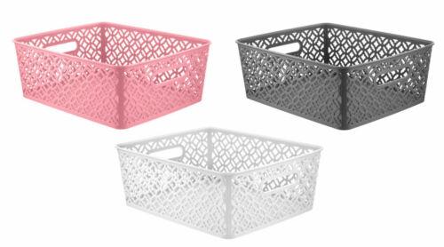 3 Floral Stockage Panier Plastique Salle de bain bureau cuisine étude Tidy Organisateur Med