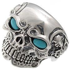 Mens Silver Skull Biker Ring Turquoise Eyes Sizes 9-13 (Larger $25.00 more)