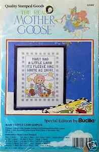 Mother-Goose-Stamped-Cross-Stitch-Marys-Little-Lamb-Sampler-Bucilla-New