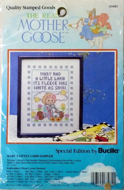 Mother Goose Stamped Cross Stitch Marys Little Lamb Sampler Bucilla New