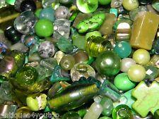 NEW 6/oz GREENS Random MIXED Loose Beads 6-15mm Pearls, GLASS, Stone MIXTURE