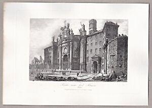 Italien-Italia-Vatikan-Rom-Kirche-zum-heil-Kreuze-Stahlstich-Payne-1850