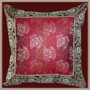 Burgundy-Flower-Silk-Brocade-Border-Pillow-Cover-from-India