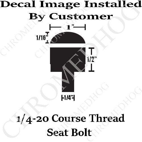 Billet Aluminum LG Knurled Seat Bolt for 96-17 Harley Y Ribbon Flag Chrome