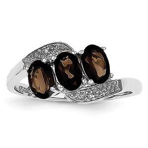 Sterling Silver Rhodium Smoky Quartz /& Diamond Ring