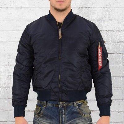 Alpha Industries Männer Pilotenjacke MA 1 VF 59 blau Bomber Jacke Herren | eBay