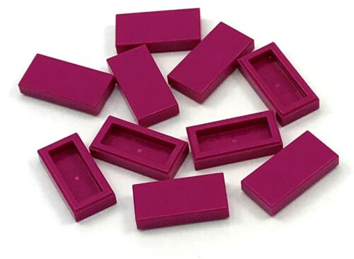 Lego 10 New Magenta Tile 1 x 2 Flat Groove Pieces