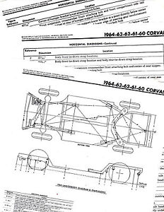 1960 1961 1962 1963 1964 CORVAIR FRAME DIAGRAM CHART WITH ...