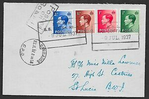 Great Britain covers 1937 Shipcover KNSM SS Costa Rica to St.Lucia
