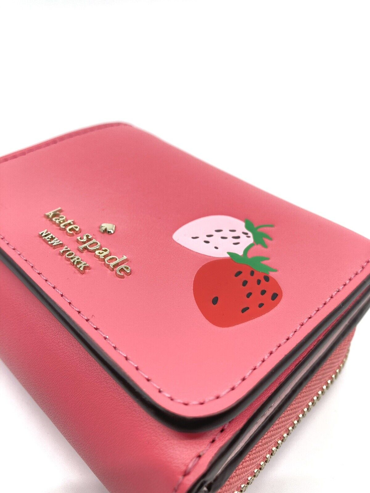 Kate Spade Trifold Compact Wallet Strawberry Picnic In The Park Series