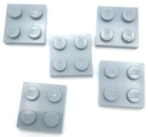Lego-5-New-Light-Bluish-Gray-Plates-2-x-2-Dot-Pieces-Parts
