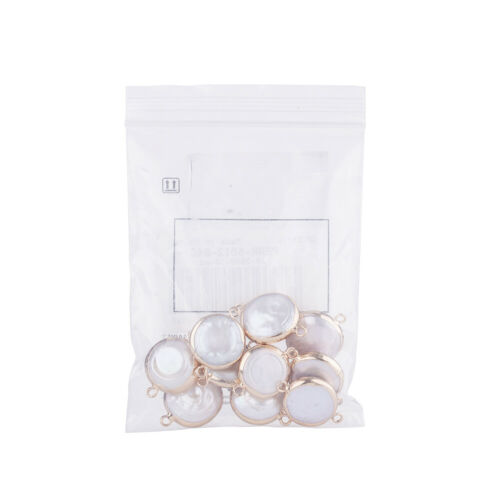 10pc Beige Plated Natural Keshi Pearl Links Connectors Flat Round Charms 22~26mm