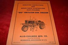 Allis Chalmers WD Fertil Side Dresser Attachment Parts & Operator's Manual WGOH