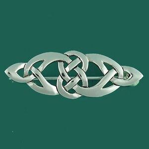 Scottish-Irish-Celtic-Knotwork-Bar-Brooch-Pin-Silver-Plated-Lovely-Gift-for-Celt