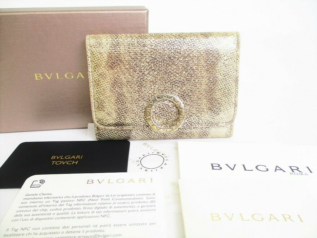 Auth BVLGARI Gold Clip Milky opal Leather Business Card Holder #8651
