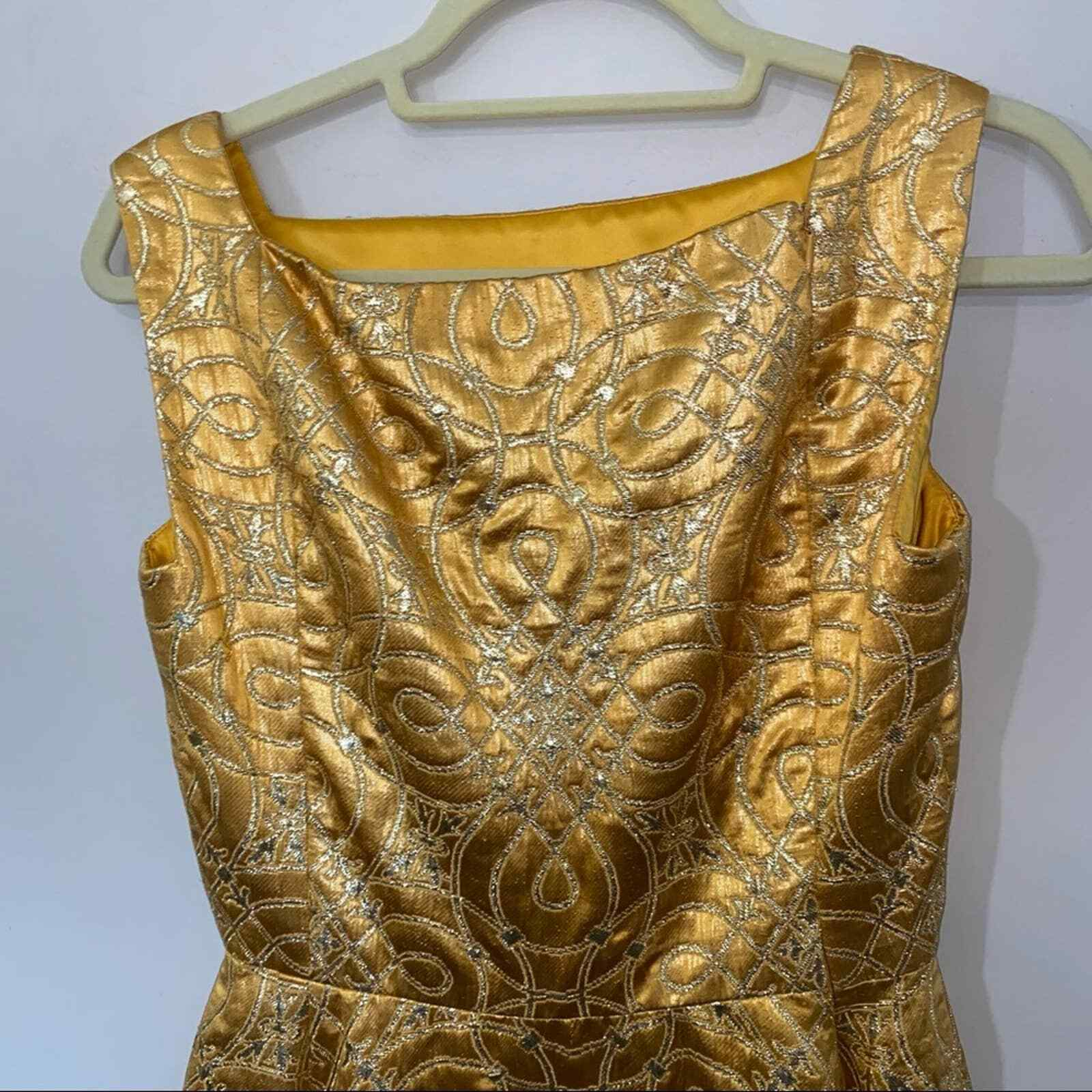 80s Vintage Scaasi Boutique Bombshell Gold Maxi D… - image 7