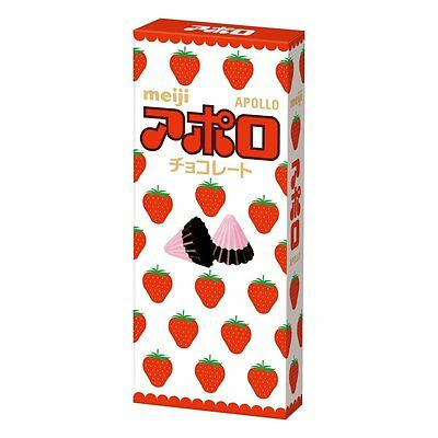 Japanese meiji APOLLO CHOCOLATE 48g Triangle chocolate strawberry & milk F/S NWT