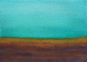 DEEP-AQUA-SKY-LANDSCAPE-Watercolor-ACEO-Painting-2-5-034-x3-5-034-Julia-Garcia-Art-NEW