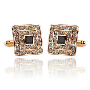 New-Fashion-Men-039-s-Cufflinks-Square-With-Crystal-Diamond-Cuff-Links-Gift-1-Pair
