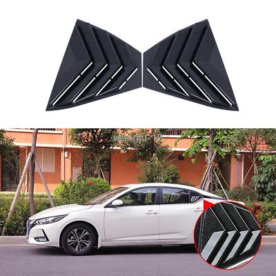 Black titanium Vent Window Scoop Louver Trim For Nissan Sentra 2016-2019