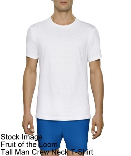 3 White Tall Man XLT 46-48 Inch Crew Neck T-Shirts Fruit Of The Loom 117-122 CM