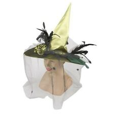 Green Witch Halloween Hat with Veil Fancy Dress Accessory NEW P5760