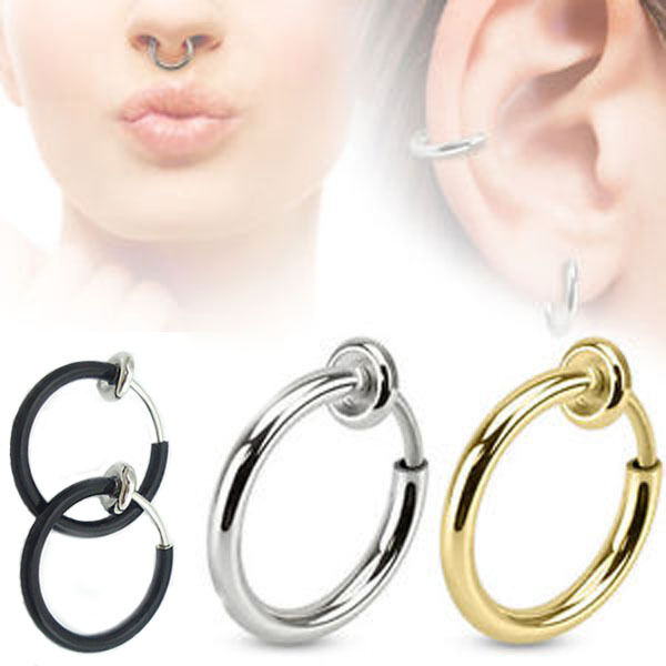 Top 3 Colors Fake Spring Action Non Piercing Nose Septum/Ear Cartilage Ring