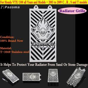 Acier-inoxydable-radiateur-grill-grille-cover-pour-honda-VTX1300-vtx-1300-r-s-c-t-logo-03