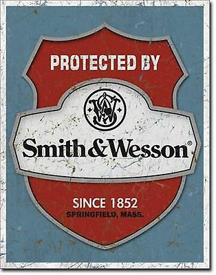Smith & Wesson Protected By Guns Metal Sign Tin New Vintage Style USA #1682