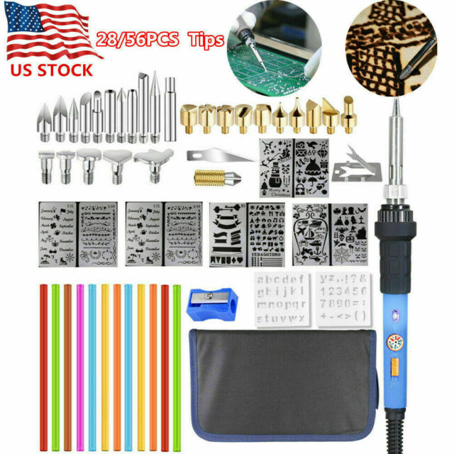 60W Electric Soldering Iron Carving Pyrography Kit Embossing Pen Set Adjustable