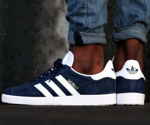 adidas-Originals-Gazelle-Navy-Blue-White-GOLD-BB5478-Mens-US-8-Shoes-Sneakers