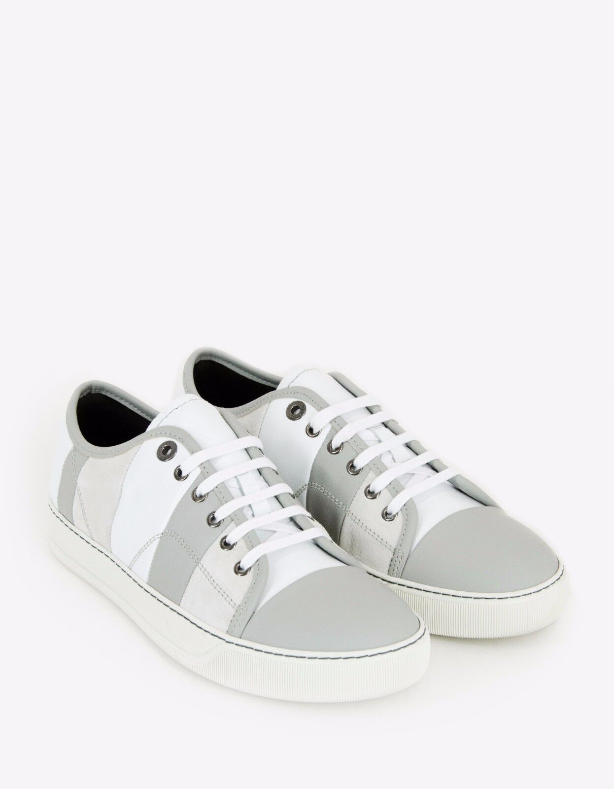 New Striped Lanvin Blanco Mixed Leather Striped New Trainers  315 BNWT 294570
