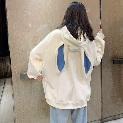 Femme Fille Desseré Pull Sweat à Capuche Haut Velours Japonais Lapin Oreille