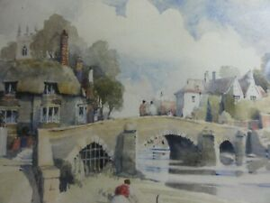 Original-Watercolour-Landscape-painting-Bridge-Town-river-A-D-Houghton-framed