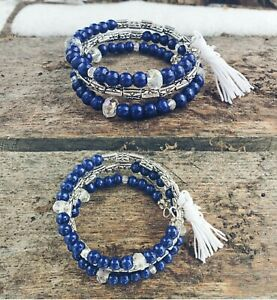 womens hand painted unique blue boho with white tassel bracelet on memory wire