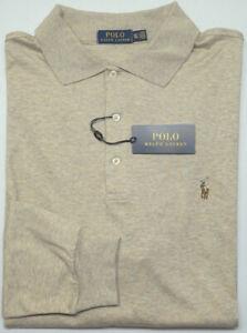 NEW-125-Polo-Ralph-Lauren-Long-Sleeve-Lt-Tan-Shirt-Mens-Big-NWT-Cotton-Heather