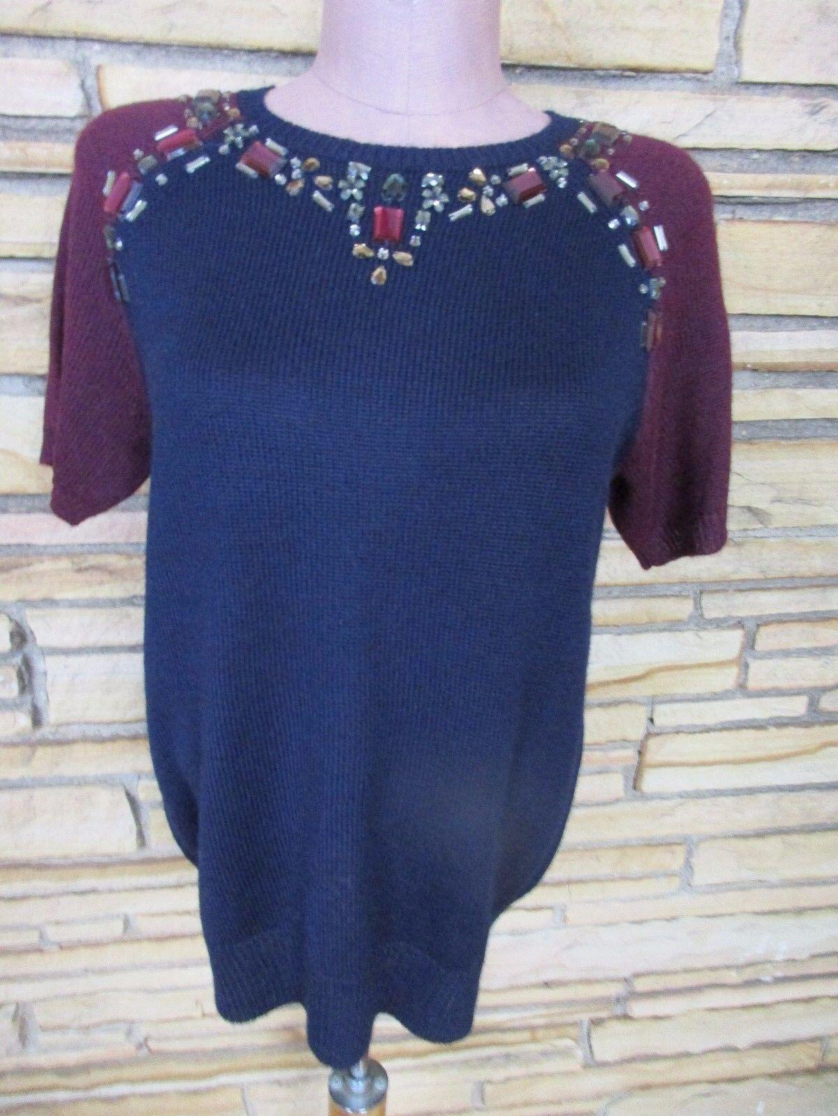 NWT J Crew Sz S M Short Sleeve Knit Sweater Top Beaded Navy Burgundy